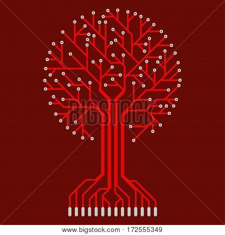 The electronic circuit in the form of a tree.