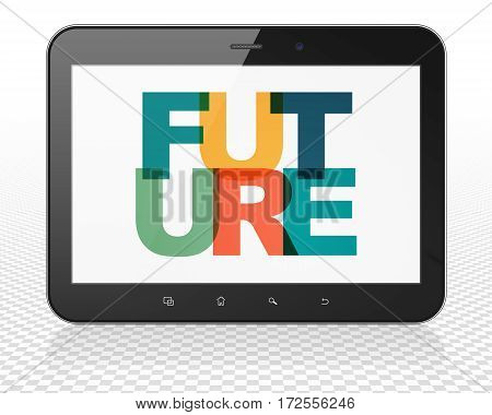 Time concept: Tablet Pc Computer with Painted multicolor text Future on display, 3D rendering