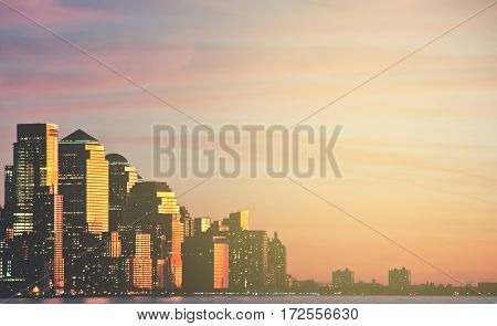 new york city downtown skyline cityscape sunset at night