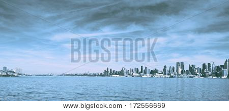 New York Cool Tone Panoramic. New York Skyline Cityscape Landmark Over The Hudson River.