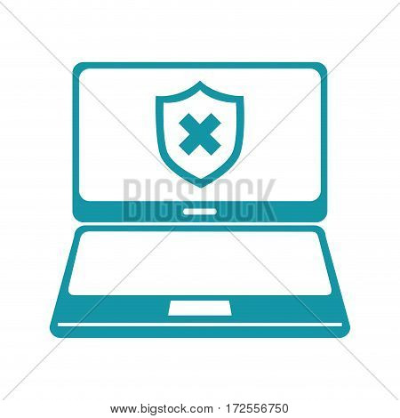 laptop computer with security symbol vector illustration design