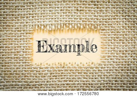 Text Example on paper Orange has Cotton yarn background you can apply to your product.