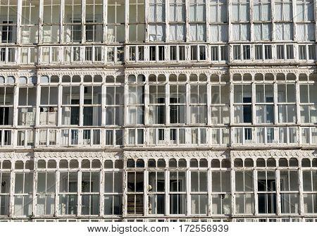 Burgos (Castilla y Leon Spain): facade of historic building with balconies and verandas