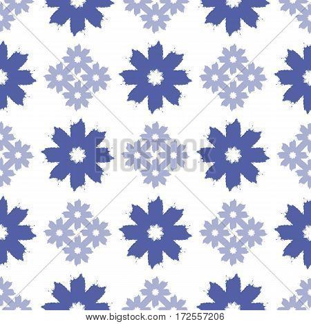 Repeating blue floral ornaments. Seamless pattern painted a rough brush. Vector illustration. Grunge. White blue.