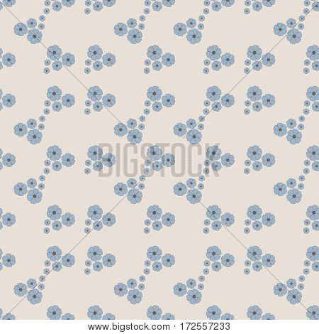 Seamless floral pattern. Small blue flowers on a light background. Vector illustration. Gray blue brown.