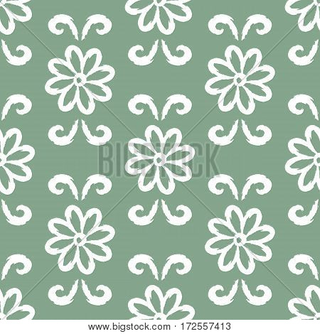 Repeating ornament of white flowers and curls. Seamless pattern. Vector illustration. Grunge.
