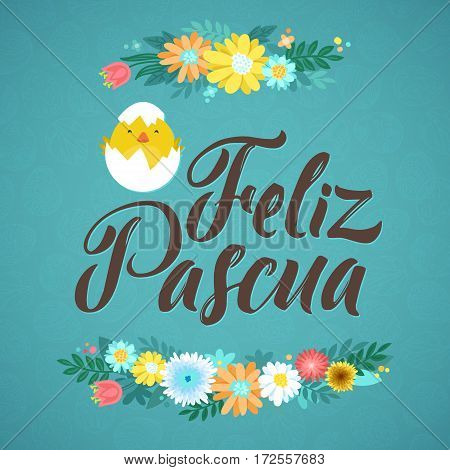 Happy Easter Spanish Calligraphy Greeting Card. Modern Brush Lettering and Floral Wreaths. Joyful wishes, holiday greetings. Blue background with Chicken
