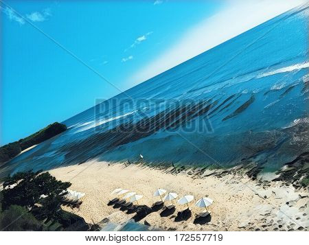 Beach with umbrellas and sea Digital illustration. Seaside view from air. Drone photo of perfect white sand beach with umbrellas. Resort beach landscape. Ocean panorama with huge waves for surfing
