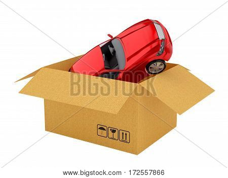 Red new car in open cardboard box. Isoalted on white. 3d illustration