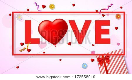 Love card with typography a large red heart in the form of an inflatable, balloon. Top view on composition with gift box, candles, tinsel and confetti. Template for greeting card or invitation