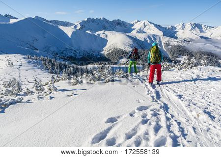 Pair Of Skiers In The Winter In The Mountains.