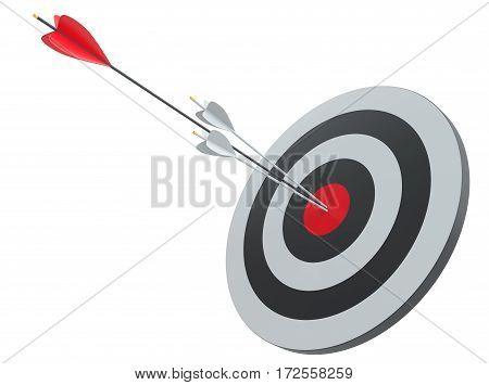 Arrow hitting target. Business concept. 3D Illustration