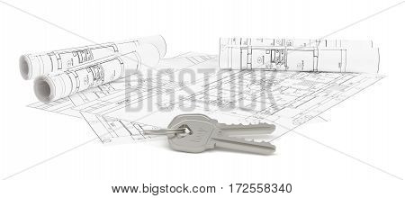 Closeup of keys on blueprint of new home. 3d rendering