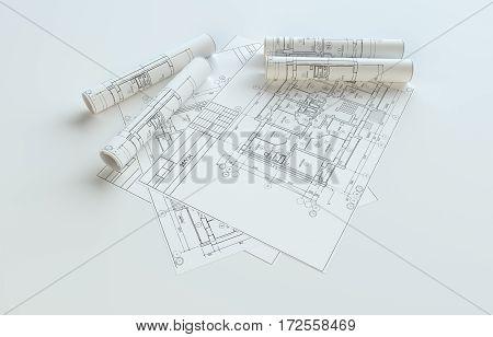 Rolled House Blueprints On Gray Background. 3D Illustration