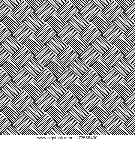 Black and white woven geometric seamless pattern, vector background