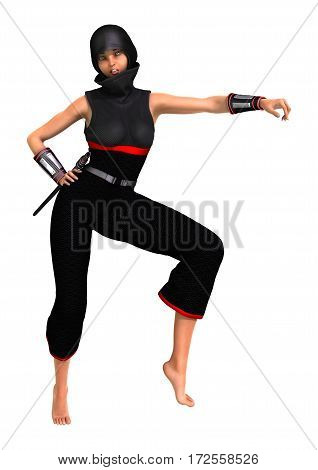 3D rendering of a female ninja isolated on white background