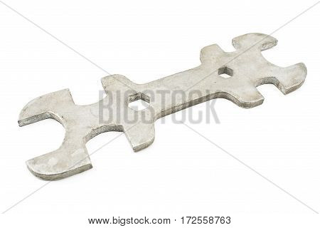 Old wrench isolated on a white background