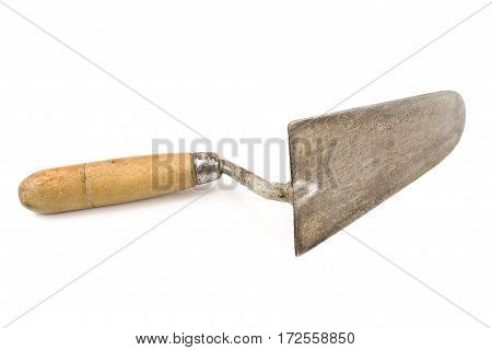 Old used trowel isolated on a white