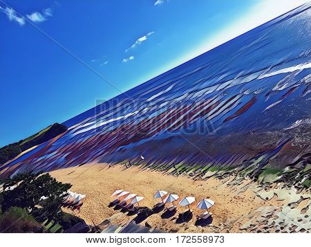 Beach with umbrellas and sea Digital illustration. Seaside view from air. Drone photo of perfect white sand beach with umbrellas. Asian beach landscape. Ocean panorama with huge waves for surfing