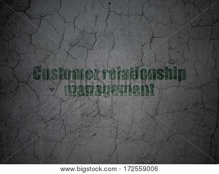 Advertising concept: Green Customer Relationship Management on grunge textured concrete wall background