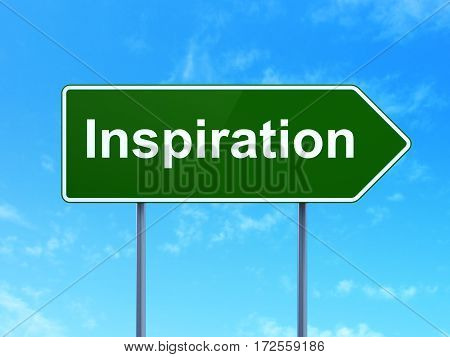 Advertising concept: Inspiration on green road highway sign, clear blue sky background, 3D rendering