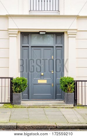 modern entrance to the building with stylish walls railings on both sides of the entrance the square metal pots with green plants the entrance from the sidewalk to the building a large gray door urban architecture