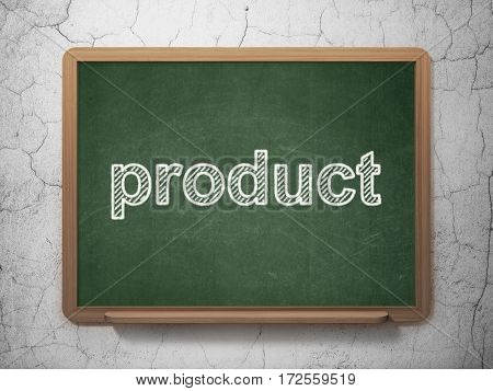 Advertising concept: text Product on Green chalkboard on grunge wall background, 3D rendering