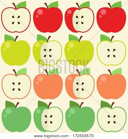 Seamless pattern with apples - Stock Illustration