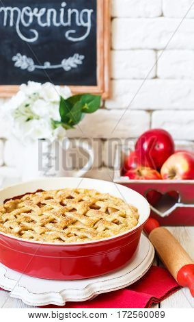 Fresh homemade apple pie with sugar crust.