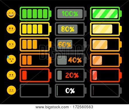 Battery indicator icons. Vector icons for your design