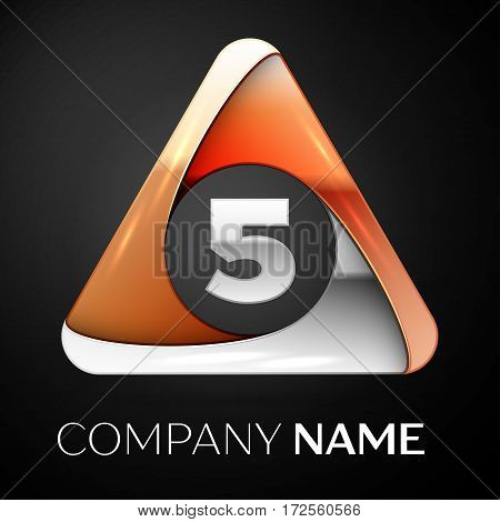 Number five vector logo symbol in the colorful triangle on black background. Vector template for your design