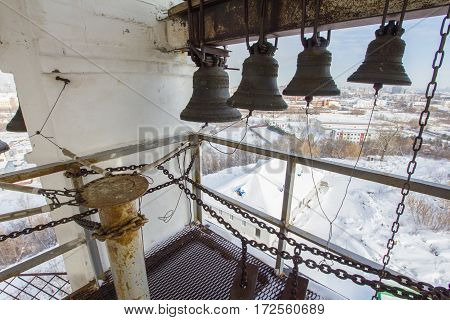 Kazan, Russia, 9 february 2017, bell tower inside - place control for bell ringing of Zilant monastery - famous orthodox place, close up
