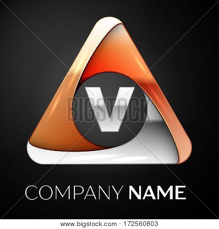 Letter V vector logo symbol in the colorful triangle on black background. Vector template for your design