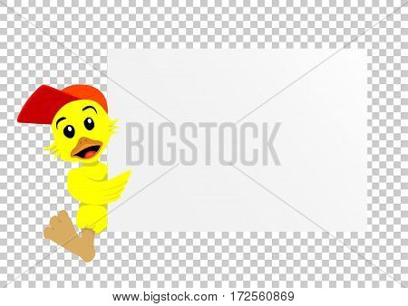 Animal duck which holds clear white template banner poster or paper for graphic and text messages on transparent background