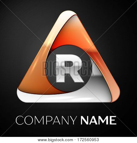 Letter R vector logo symbol in the colorful triangle on black background. Vector template for your design