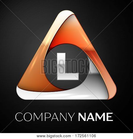 Letter L vector logo symbol in the colorful triangle on black background. Vector template for your design