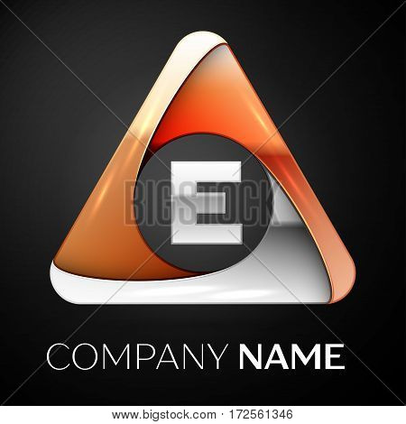 Letter E vector logo symbol in the colorful triangle on black background. Vector template for your design