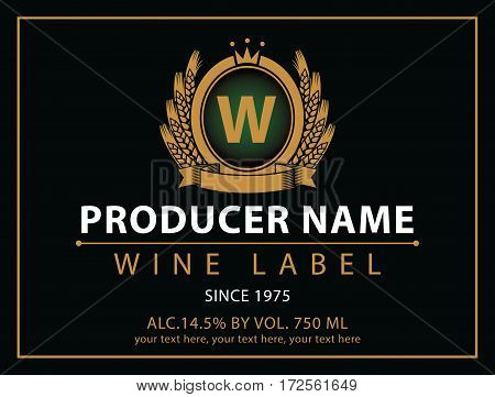 vector labels for wine with coat with ears of wheat and crown in black and gold