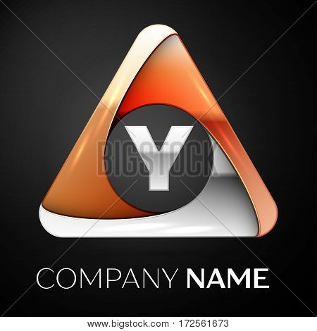 Letter Y vector logo symbol in the colorful triangle on black background. Vector template for your design