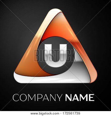 Letter U vector logo symbol in the colorful triangle on black background. Vector template for your design