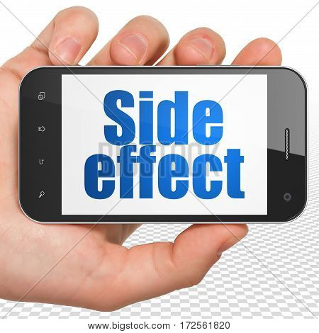 Healthcare concept: Hand Holding Smartphone with blue text Side Effect on display, 3D rendering
