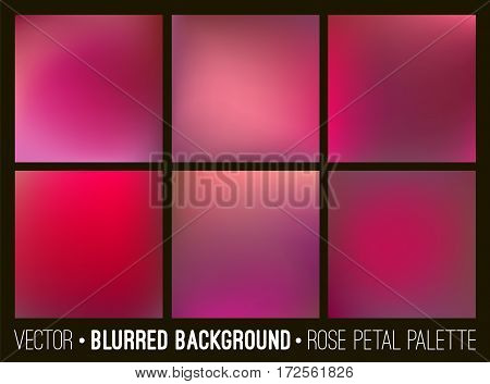 Red abstract blurred background set. Rose petal palette. Smooth design elements collection love concept.