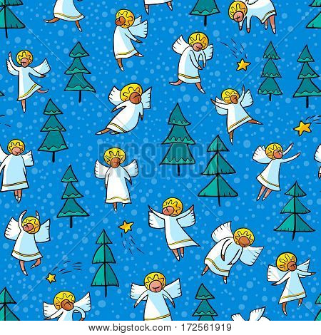 Seamless pattern with doodle dancing angels and pine trees and stars. Winter Christmas background with myphology religion characters. Line art design cartoon personages.