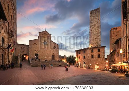 Twilight of a piazza in San Gimignano, Italy