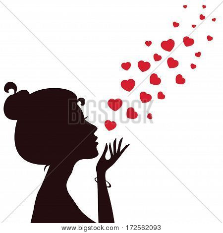 Silhouette of a girl blowing hearts away. Vector illustration