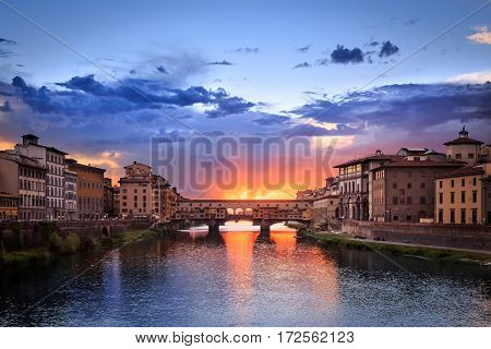 Sunset of Ponte Vecchio in Florence, Italy