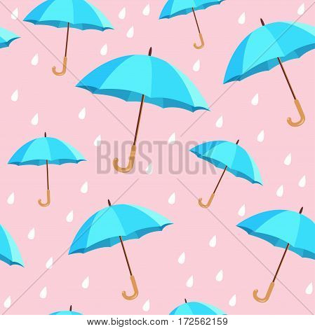 Vector blue umbrellas seamless pattern. Cute cartoon background