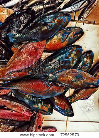 Sea fish on market table digital illustration. Contrast picture of coral fish pile for sell. Parrotfish fresh catch image. Tropical fish for food. Exotic cooking ingredient.