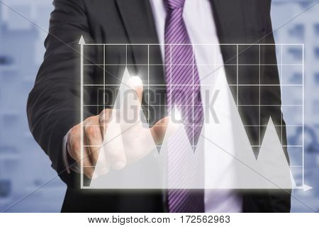 Businessman pointing against white background against view of office interior with sticky note on window