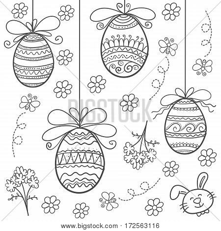 Easter egg hand draw doodles vector art